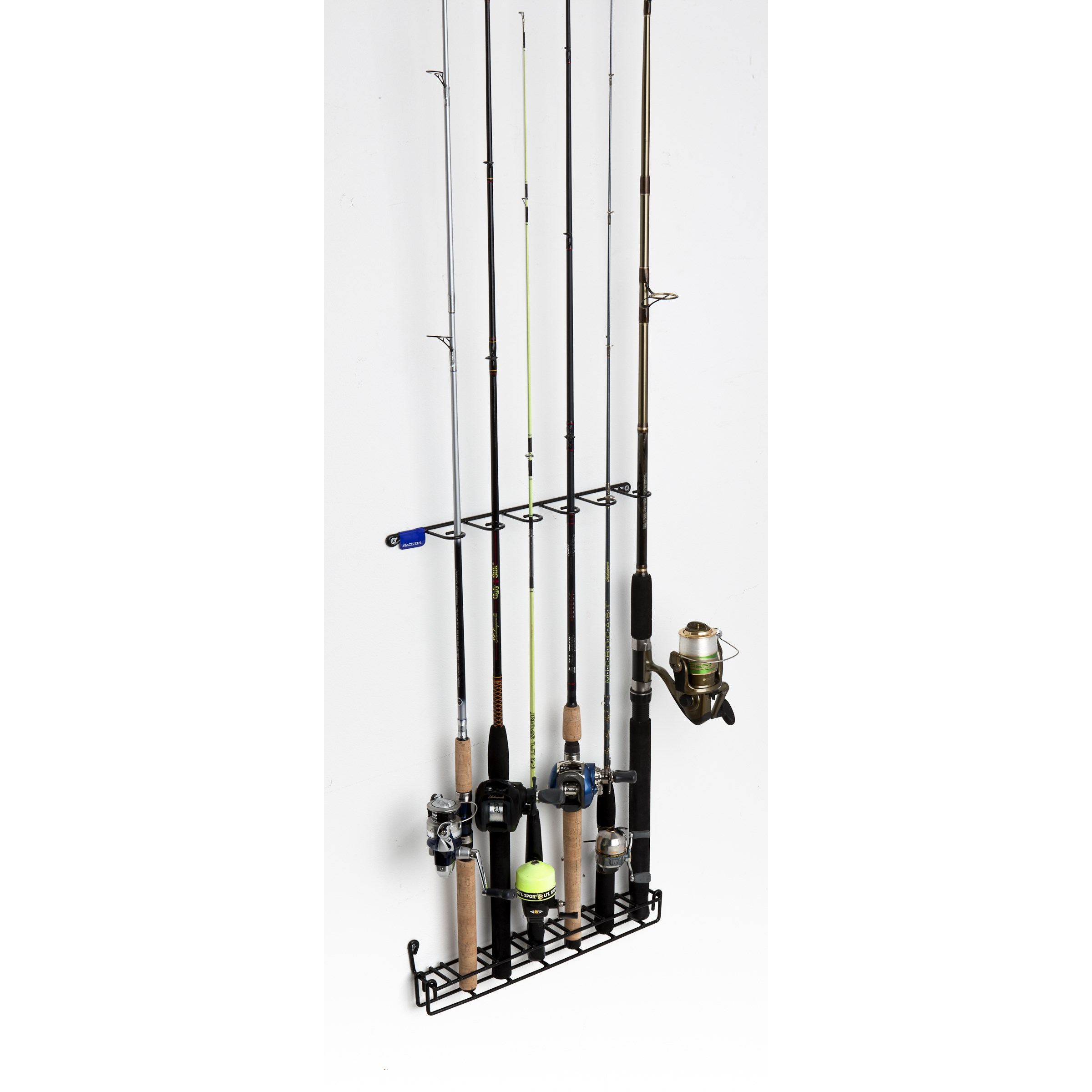 Mount anywhere 6 rod fishing rack sku 7011 rack 39 em racks for Walmart fishing pole holder