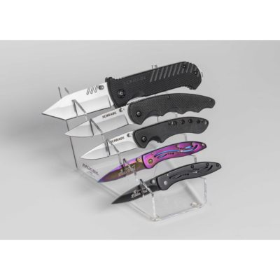 "5 Knife Waterfall Display Small to Large Knife Display front narrow/rear wide 4.5 ""W x 5""D x 3.75""H"
