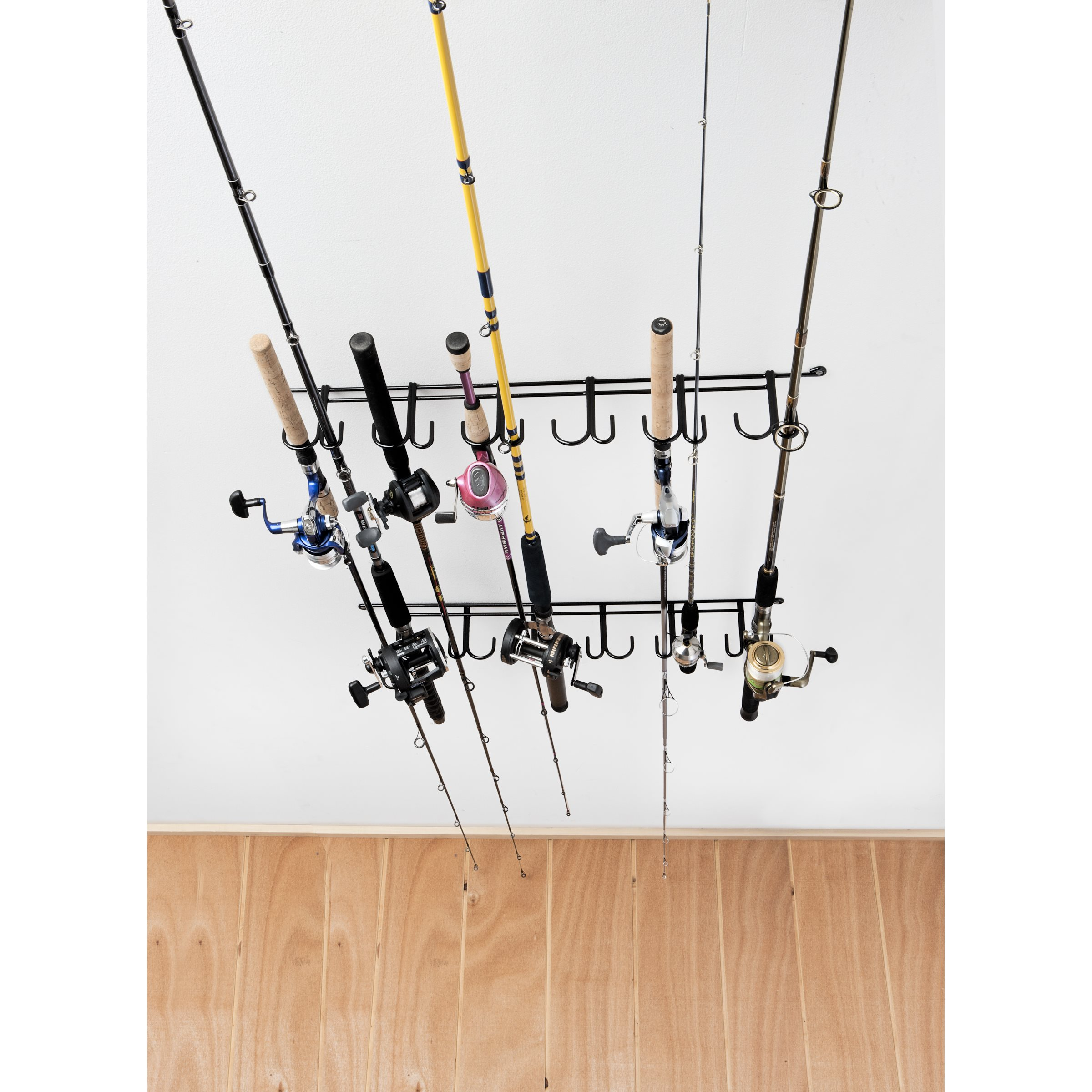 Overhead 12 rod rack sku 7009 rack 39 em racks for Walmart fishing pole holder
